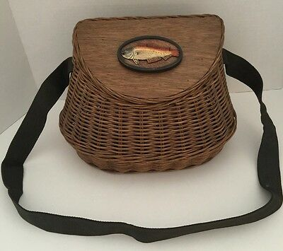 Fishing Creel Wooven Basket With A Fish On The Cover & Fabric Strap