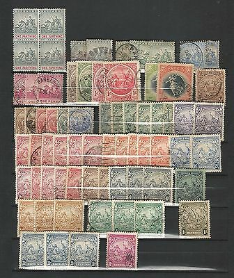 Barbados: Little lot of 70 used stamps, earlies, and 1 block 4 mint... BB04