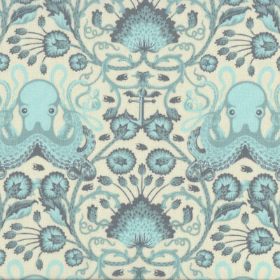 Octo Garden on Cream Tula Pink Octopus Quilting Fabric FQ or Metre *New*