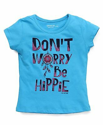Girls / Kids Size 1 ~ 8 - Top/ T-shirt Don't Worry be Hippie Print - Blue