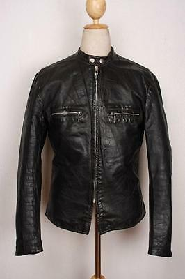 Vtg BROOKS Black Leather Cafe Racer Motorcycle Jacket Small