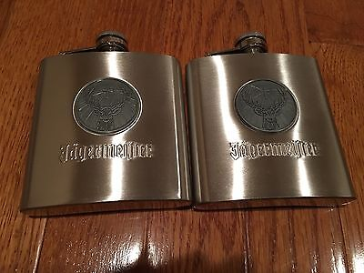 Jagermeister 6oz Flask Stainless Set Of Two