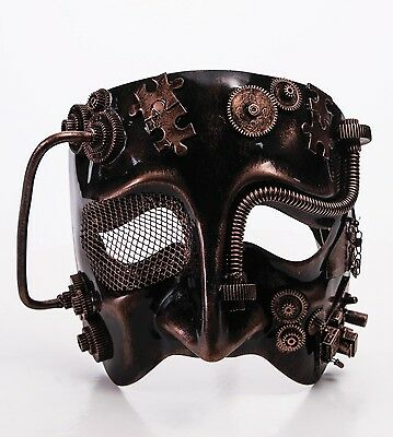 Steampunk Bronze Mens Adult Gears Mask for Halloween Industrial Costume