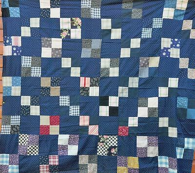 1880-1910 Lovely Indigo Four Patch Antique Vintage Quilt Top – Masculine Design