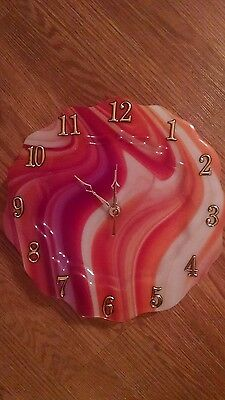 Gorgeous Swirling Orange And Red Stained Glass Dinner Plate Size Clock !