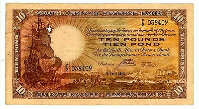 South Africa ... P-87 ... 10 Pounds ... 1943 ... *(*)F-VF*