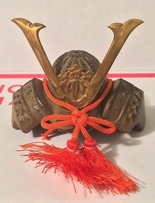 JAPAN JAPANESE MINI MINATURE SAMURAI WARRIOR HELMET KABUTO CAST IRON BRASS h