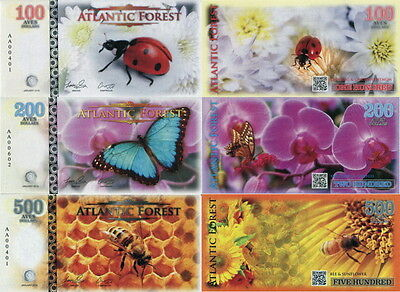 ATLANTIC FOREST - Lot Lotto 3 banconote 100/200/500 aves dollars 2016 FDS UNC