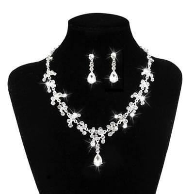 Wedding Bridal Crystal Rhinestone Diamante Jewelry Necklace Earrings Set