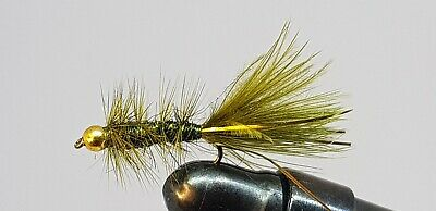 12QTY BEAD HEAD  BABY BUGGER OLIVE Fishing Flies size 12, 14 & 16