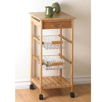 New Bamboo Rolling Kitchen Cart With Baskets Counter Top Drawer Home Decor