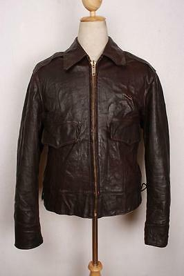 Vtg 1940s Appalachian HORSEHIDE Leather Sports Motorcycle Jacket Large