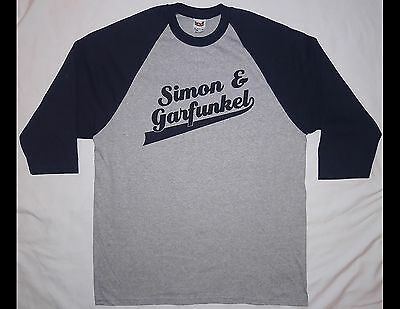 SIMON & GARFUNKEL Old Friends Size Large Gray Shirt with Blue Sleeves