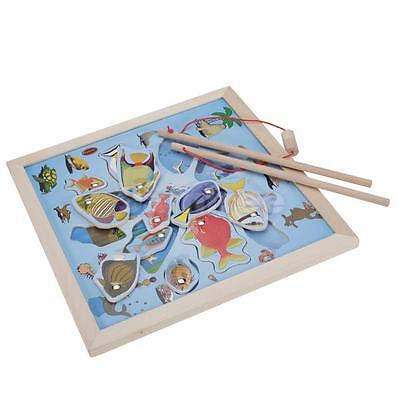 Wooden Fishing Magnetic Puzzle Educational Game Toy Pretend Play Kids Gift New