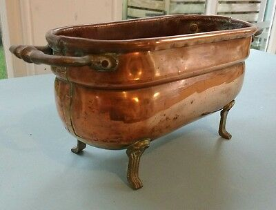 Vintage Very Rare Small Copper Tub with Brass Handles and Feet