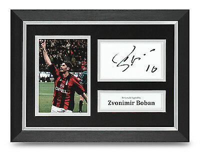 Zvonimir Boban Signed A4 Photo Framed AC Milan Memorabilia Autograph Display COA