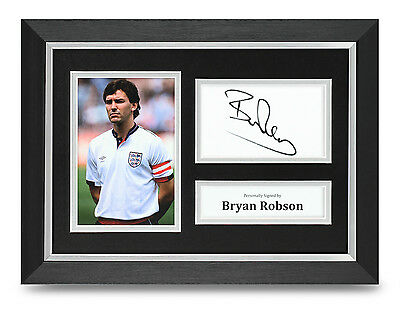 Bryan Robson Signed A4 Photo Framed England Memorabilia Autograph Display + COA