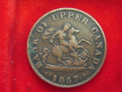1857 Half- Penny Token From The Bank Of Upper Canada  From My Collection C16