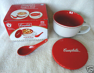 "New CAMPBELL'S SOUP Ceramic Soup Mug Set ""Soup 'R Mug"" FREE SHIPPING"