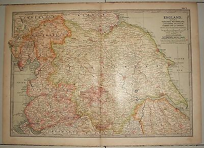 Map of England section 2 ex-Britannica Encyclopedia 1903 few worm holes