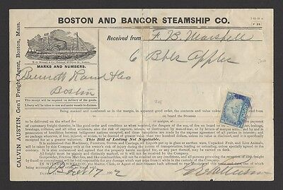 USA 1902 Boston & Bancor Steamship Co. Bill of Lading with Steamship tax stamp
