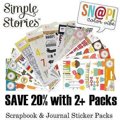 Simple Stories & Sn@p Sticker Sheet Packs - Scrapbook Journal & Planner Stickers