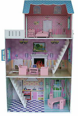 Kids Dolls House Doll House Furniture Townhouse Childrens Playsets Girls Gifts