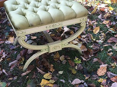 Decorative X-Bench Mid Century Modern Hollywood Regency Upholstered
