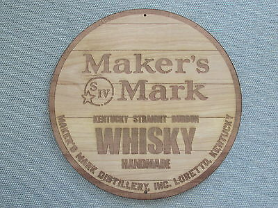 "Maker's Mark Kentucky Bourbon Whiskey 12"" Round Wood Sign Barrel Top style"