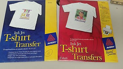 10 Sheets AVERY T-SHIRT INK JET TRANSFERS