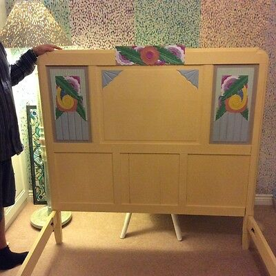 hand painted Art Deco bed frame continental double