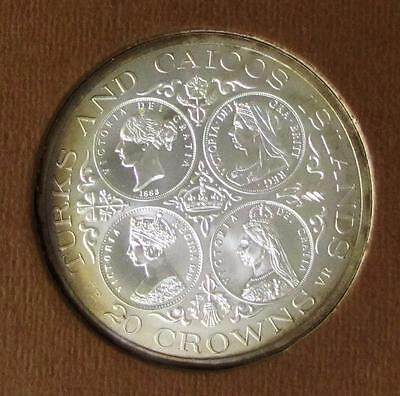 1976 Turks and Caicos Islands Victoria 20 Crown Large Silver Coin, BU.