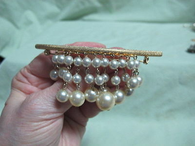 Vintage Gold Tone Faux Dangle Pearl  Brooch Pin