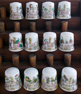 Hutschenreuther - Months of the Year - Complete Set of 12 Thimbles - German