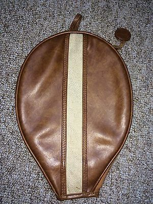 Rare Vintage Carnaby brown faux leather tennis racquet/racket cover
