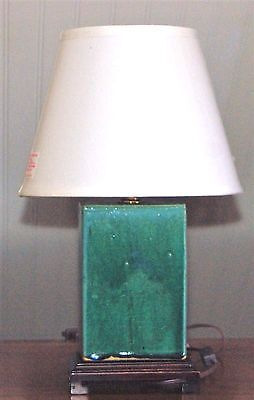 Antique Flambe Green Blue CHINESE PORCELAIN PILLOW Lamp Early 20th C. Turquoise