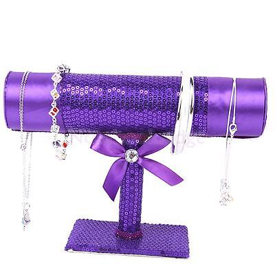 Purple Sequin Bracelet Chain Watch T-Bar Rack Jewelry Display Stand Holder