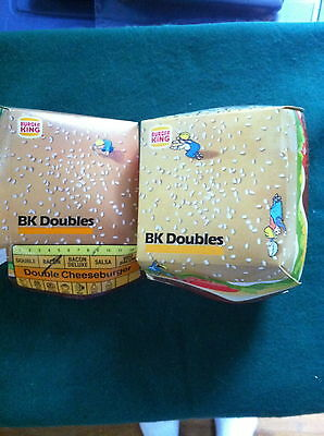 1989 & 1990 2 Used Burger King Bk Doubles Containers