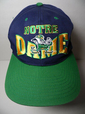 Vintage 1990s NOTRE DAME Fighting Irish Leprechaun NCAA LOGO SNAPBACK HAT CAP