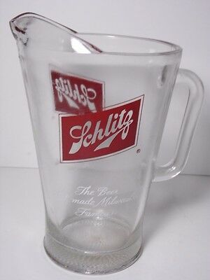 VTG 1960s SCHLITZ PITCHER BEER THAT MADE MILWAUKEE FAMOUS WISCONSIN BAR BARWARE