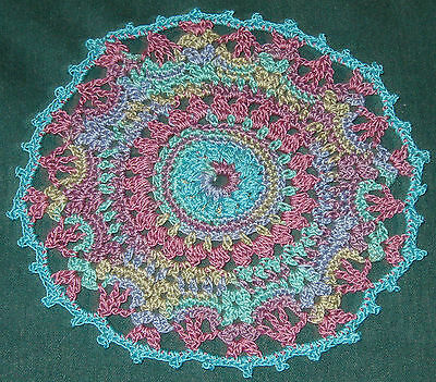 """Crochet Cotton Doily,  6 1/2"""", Lavender and turquoise with picots"""