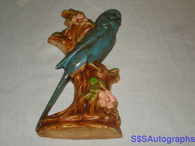 Antique Vtg CERAMIC CHALK BIRD BLUE PARROT PARAKEET TREE Wall Hanger HOME DECOR
