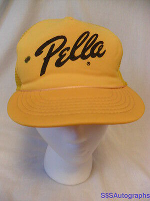 VINTAGE 1970s 1980s YELLOW PELLA WINDOWS DOORS ADVERTISING TRUCKER SNAPBACK HAT