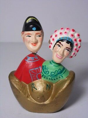 OLD VINTAGE 1950s 1960s MAN AND WOMAN 2 IN 1 BOBBLEHEAD NODDERS RUSSIAN EUROPEAN