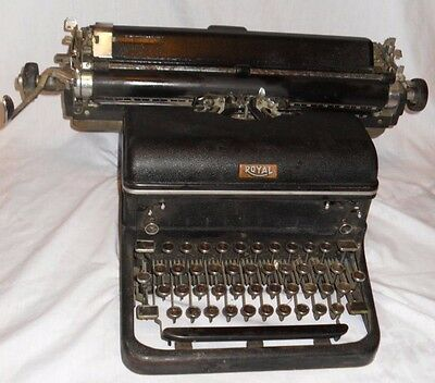 Rare Early Vintage Antique 1949 Royal Kmg Model Professional Black Typewriter