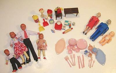 Vintage Renwal, Caco & Other Makers Doll House Furniture,Accessories,People Lot
