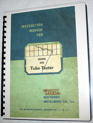 Manuals & Tube Charts EICO 625 Tester Instuction Construction 1978 Supplements