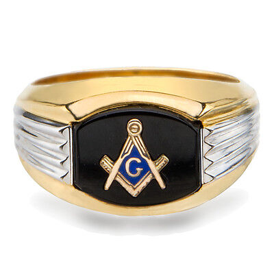 NEW Masonic Ring 10K Solid Gold Master Mason Freemason Masonry Black Onyx