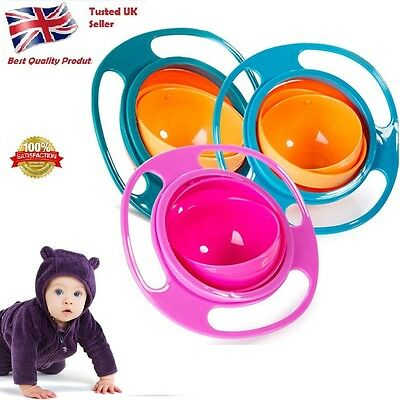 Baby Kid Non Spill Feeding Toddler Bowl Avoids Food Spilling 360 Rotating UK