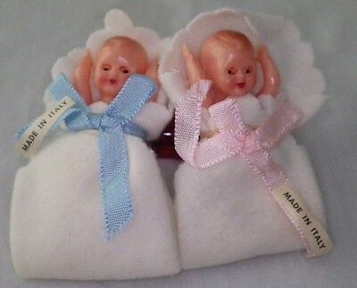 Vtg Plastic Celluloid (2) Twin Boy / Girl Dolls Eyes Open & Close Made Italy NEW